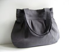 SALE... Olive Grey Canvas pleated bag with double straps - everyday purse -. $29.00, via Etsy.