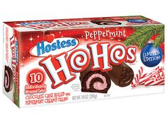 Your Comprehensive Guide to the Latest Holiday-Flavored Foods | PEPPERMINT HO HOS | The first new Ho Hos flavor ever is arriving just in time for the holidays: chocolate cake rolled with peppermint creamy filling.