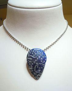 "Set ""Silber-Blau"" aus Fimo / Pendant made of Polymer Clay"