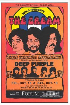 the CREAM 1968 Concert Poster Ticket Ready to Frame! san diego with Deep Purple Vintage Concert Posters, Vintage Posters, Rock Band Posters, Tour Posters, Music Posters, Vintage Rock, Rock Concert, Eric Clapton, Special Guest