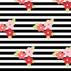 flowers and black stripes fabric by mintpeony on Spoonflower - custom fabric