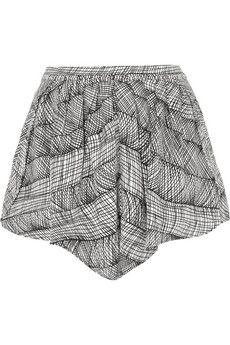 KENZO Printed stretch-crepe culottes   NET-A-PORTER