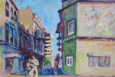"""Edwin Studer (Taller Torres García) """"Calle con collage"""" Collage y óleo sobre cartón 34 X 44 cms.  http://www.portondesanpedro.com/ver-producto.php?id=9216"""