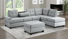 """Homelegance 9367GY*SC 2 pc Wildon home fossil light gray textured fabric sectional sofa with reversible chaise drop down tray back. This set features a sofa with center drop down tray back, and reversible chaise lounge all with pocket coil seating. Sectional measures 112.5"""" x 81"""" x 33.5"""" D x 35.5"""" H. Some assembly required."""