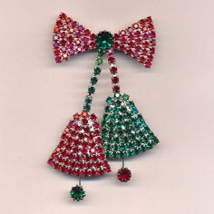 Big Rhinestone Christmas Holiday Bells Pin Brooch