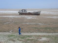 Orphaned ship in former Aral Sea, near Aral, Kazakhstan.