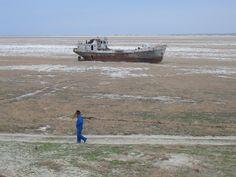 Orphaned ship in former Aral Sea, near Aral, Kazakhstan.