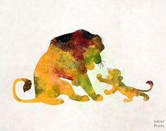 Mufasa and Simba splatter art