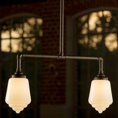 Für Tische: Geschmiedete Doppel-Pendelleuchte mit Art déco-Glas von Robers Leuchten