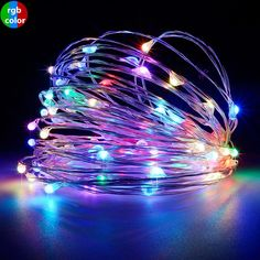 PaperLanternStore's RGB Multi-Color LED micro fairy wire waterproof lights are perfect for all events like Wedding receptions and holiday dinner parties! Create the beautiful, whimsy atmosphere you are looking to achieve. They are made of thin copper micro strand light wire and can bent into desired shapes like coils or balls, or they can simply take the shape of the vase or container you put them into. Being waterproof, these are versatile lighting solutions for your pool party or outdoor event Luz Solar, Solar Led, Led Fairy Lights, Solar String Lights, Light String, Led Christmas Lights, Holiday Lights, Strip Lighting, Outdoor Lighting