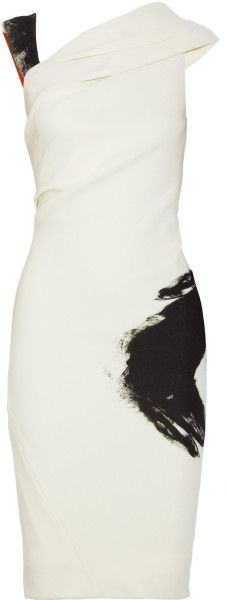 Donna Karan New York Artist Draped Stretchjersey Dress in White (cream) - Lyst