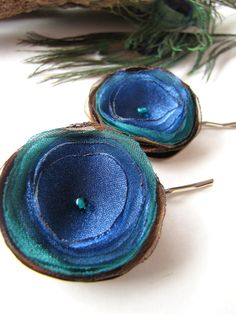 Hair pins with handmade satin and organza fabric flowers (set of 2 pcs) - TINY PEACOCK FLOWERS. $12.00, via Etsy.
