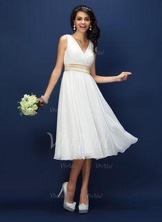 A-Line/Princess V-neck Tea-Length Sash Chiffon Zipper Up Regular Straps Sleeveless No Ivory Spring Summer Fall White Bridesmaid Dress