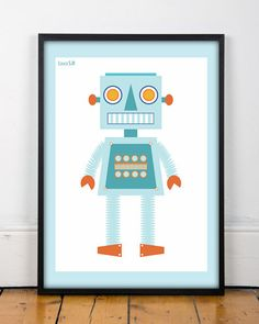 Robot print, nursery, 2 SIZES, printable,  KIDS room decor,outer space, kids wall art, retro robot,láminas infantiles, baby print