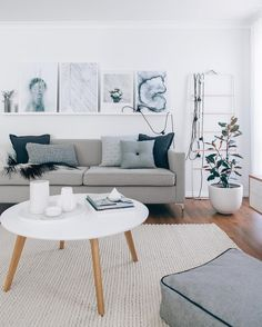 Scandinavian blue and grey living room