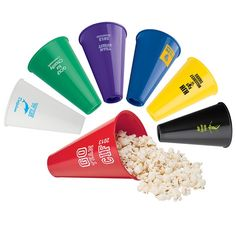 Lewis Enterprises from Omaha NE USA Plastic cone can be used as a megaphone, popcorn holder, or even a table centerpiece. Popcorn Holder, Trade Show Giveaways, School Spirit, Table Centerpieces, A Table, Plastic, How To Make, Ideas, Table Centers