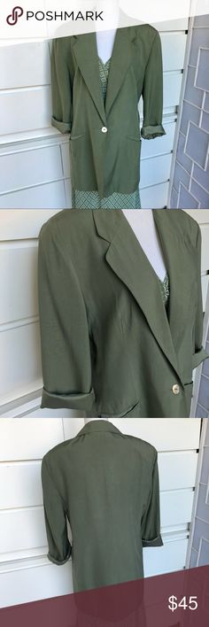 """Vintage Express Silk Boyfriend Jacket Vintage Express  Silk Boyfriend Blazer  Size large  Measurements 17""""B X 31""""L Light olive shade   Boyfriend jackets are the rage and this 100% silk blazer is perfect with a dress or t-Shirt and jeans. This is from my personal closet but it's just too big. I always got compliments and so will you. Express Jackets & Coats Blazers"""