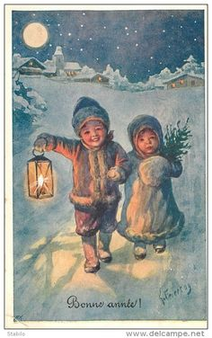Feiertag postcard, Children in Snow with lantern Christmas Tree Scent, Christmas Scenes, Christmas Mood, Noel Christmas, Victorian Christmas, Christmas Greetings, Xmas, Holiday, Illustration Noel