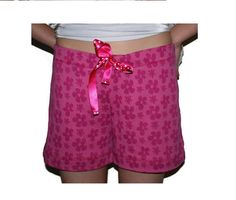 Pink flower bamboo/cotton shorts, bamboo short, pants size M,  Mother's Day Gifts
