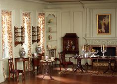 Thorne Rooms - Love the Chippendale influence in this room. To see more miniature Chippendale take a look: http://TheSobolEditions.blogspot.com/2013/03/chippendale.html
