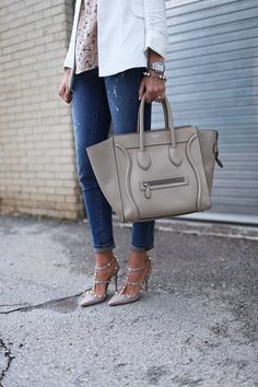 CELINE MINI LUGGAGE perfect daytime tote! I wear my yellow one with all my denim <3
