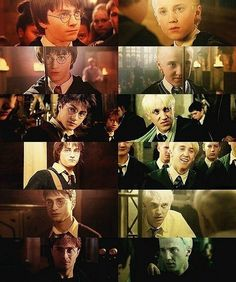 Harry Potter and Draco Malfoy...year one to year six (Since they didn't do year seven together, after all...)