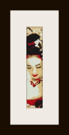 PDF Geisha pattern bracelet in peyote stitch two drop by monjka