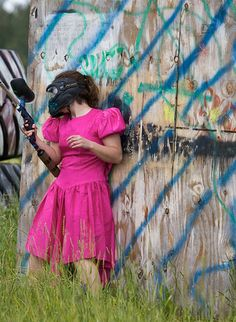 Paintball Bachelorette Party - Find the worst bridesmaid dress you can at a thrift store and play paintball.