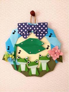 折り紙 リース 紫陽花 カエルの合唱 壁面飾り 保育園 施設 Origami Wreath, Origami Quilt, Origami Cards, Origami 3d, Origami And Quilling, Origami Bookmark, Origami Folding, Origami Paper, Paper Quilling