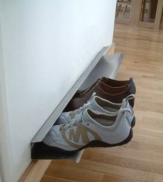 62 Easy DIY Shoe Rack Storage Ideas You Can Build on a Budget Here are over 60 great DIY shoe rack ideas that will cover all your shoe storage needs while improving your home decor at the same time. Wall Mounted Shoe Storage, Shoe Storage Rack, Diy Shoe Rack, Laundry Room Storage, Closet Storage, Storage Shelves, Storage Ideas, Shoe Racks, Shoe Organizer