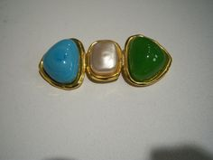 Vintage Chanel pin/brooch turquoise pearl by LiliseDesignerResale