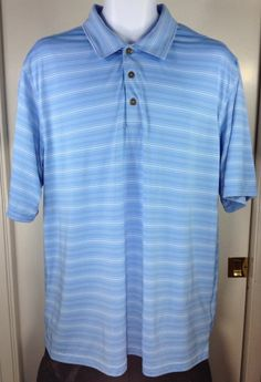 Pebble Beach Performance Golf Polo Shirt Mens Size XL 1X Striped #PebbleBeach #PoloRugby
