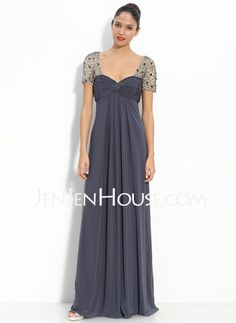 Mother of the Bride Dresses - $163.99 - Empire V-neck Floor-Length Chiffon  Charmeuse Mother of the Bride Dresses With Ruffle  Beading (008005931) http://jenjenhouse.com/Empire-V-neck-Floor-length-Chiffon--Charmeuse-Mother-Of-The-Bride-Dresses-With-Ruffle--Beading-008005931-g5931