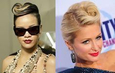 Chignon banane - coiffure banane retro - coiffure banane rock Paris Hilton, Chignons Rock, Rihanna, Victory Rolls, Hairdo Wedding, Moda Vintage, Sunglasses Women, Pin Up, Hairstyle