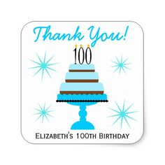Blue 100th Birthday Cake Favor Stickers