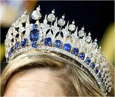 THE NETHERLANDS | The Mellerio Sapphire Tiara | This tiara was chosen by Queen Máxima to wear to King Willem-Alexander's inauguration, April 30, 2013. She made a change to the center top of the tiara, to lower the central element. She also wore her hair back, so the sapphires appeared in a way they never did when Beatrix wore the diadem.