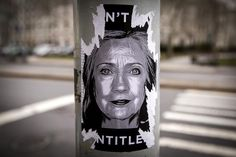 A Hillary Clinton sticker is pictured on a street post near her campaign headquarters in the Brooklyn borough of New York, April 14, 2015. An unknown entity placed �Don�t say� signs outside Clinton's Brooklyn Heights headquarters before her announcement Sunday. REUTERS/Brendan McDermid