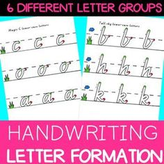 Victorian Modern Cursive font. Lower-case letters are grouped according to similar motor patterns. Sky, grass, dirt terminology assists children to learn where to sit their letters on the dotted thirds. Green and red dots provide visual cues to assist chi