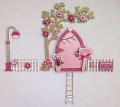 Magical Hand Painted Pink Blossom Fairy Door, Tree, Fencing, Lamppost & Ladder   eBay