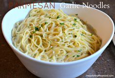 Parmesan Garlic Noodles ~~ A quick and easy side dish of angel hair pasta with loads of fresh garlic, parmesan cheese, chicken broth, half and half and parsley. Ready in 15 minutes! Parmesan Noodles, Garlic Noodles Recipe, Garlic Pasta, Garlic Parmesan, Garlic Chicken, Garlic Minced, Recipe Pasta, Veggie Noodles, Pasta Noodles
