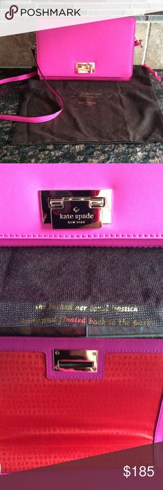 Kate Spade crossbody Beautiful Kate Spade crossbody hot pink like new!!! Only used 1 time!! Comes with dust cover. Straps are not adjustable. Gold hardware. kate spade Bags Crossbody Bags