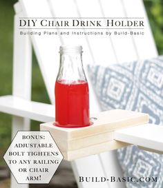 Build a DIY Chair Drink Holder - Building Plans by Easy Woodworking Projects, Diy Wood Projects, Outdoor Projects, Woodworking Plans, Wood Scraps, Drink Holder, Diy Holz, Diy Chair, Diy Tutorial