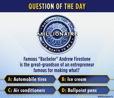 """Show what you know about """"The Bachelor"""" fan favorite Andrew Firestone, then watch him play #MillionaireTV on Thursday for charity. Don't miss this brand-new week of """"Millionaire"""" with host Chris Harrison. Go to www.millionairetv.com for time and channel to watch."""