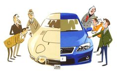 Choosing the right car : Illustration by Satoshi Hashimoto www.dutchuncle.co.uk/satoshi-hashimoto