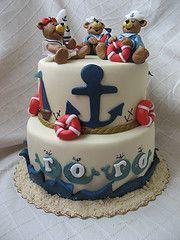Teddy Bear Sailor Cake - cool baby shower theme or first birthday theme minus the weird bears Ocean Cakes, Beach Cakes, Pasta Flexible Figuras, Fancy Cakes, Cute Cakes, Sailor Cake, Sailor Theme, Nautical Cake, Nautical Party