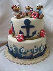 Teddy Bear Sailor Cake - cool baby shower theme or first birthday theme