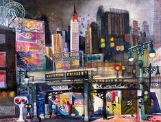 Dong Kingman - View from Third Avenue, 1947 Arches Watercolor Paper, Watercolor Landscape, Watercolor Print, Watercolor Paintings, Watercolors, Nocturne, Art Prints For Sale, Fine Art Prints, California Art
