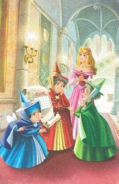 The fairies~Merryweather, Flora & Fauna, and Princess Aurora/Sleeping Beauty/Briar Rose Aurora Disney, Walt Disney, Disney Nerd, Disney Fan Art, Disney Girls, Disney Magic, Disney Cast, Disney And Dreamworks, Disney Pixar