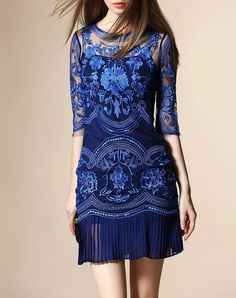 Check the details and price of this Blue Half Sleeve Embroidered Sheath Mini…