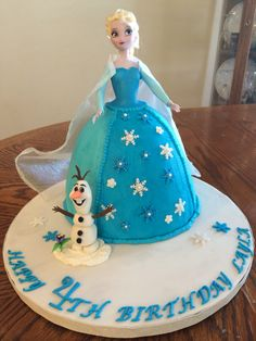 Frozen cake I made for a friends daughter. Not my original idea but I included Olaf and Elsa.